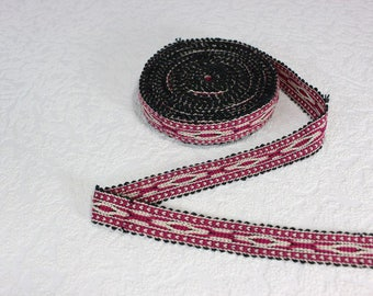Woven Trim (6 yards), Woven Border, Cotton Ribbon, Grosgrain Ribbon, Dress Border, Border Trim, R179