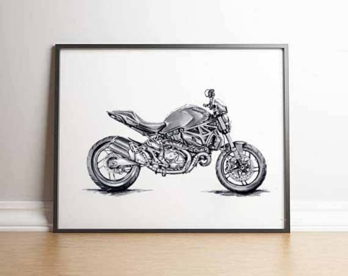 Featured listing image: Ducati Monster Superbike Motorcyclist Gift Ducati Gifts Ducati Print Gift Men Motorcycle Gift Ducati Gift Ideas Ducati Motorcyclist Ducati