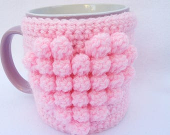 Hand crocheted mug cosy -pink heart - valentine's day gift - mother's day gift - mug cosies - mug hug - gifts for her
