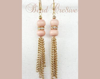 Khaki colored beads with gold chains