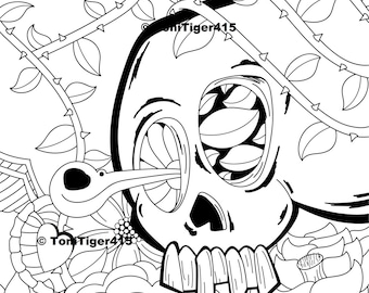 Skull Coloring Page, Skull and Hummingbird Art, Instant Download, Digital Coloring Page, Original Skull Drawing, Adult Coloring Page