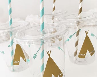 Wild One Cups - Wild One Birthday - Wild One Party - Arrow Party Cups - Tribal Baby Shower - Bohemian Party - Boho Theme - Tribal Party Cups