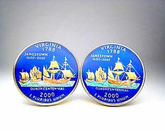 USA Quarter coin cufflinks Virginia  state 24mm