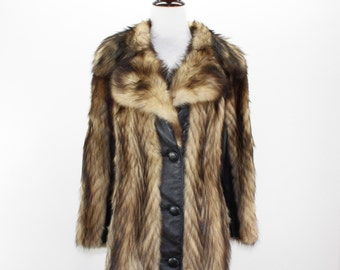 Vintage Raccoon Fur + Leather Coat Women's M