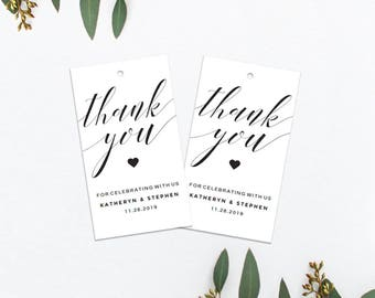 Printable Wedding Thank You Tags, Personalized Wedding Thank You Tags, Wedding Thank You Labels, Editable PDF Template, Instant Download.