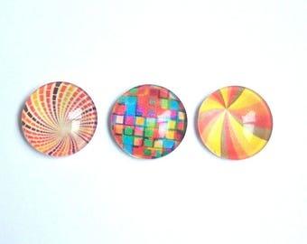 3 orange yellow swirl square multicolor 18mm image glass cabochons