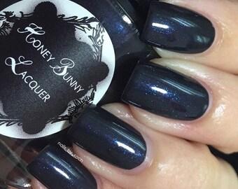 Black Gives Way To Blue - black nail polish - blue shimmer nail polish - indie nail polish - nail lacquer - handmade - nails - makeup