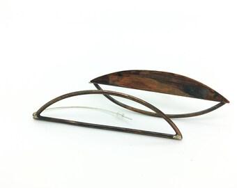 Copper Leaf Frame Odd Earrings