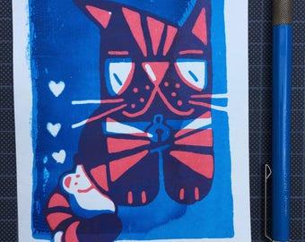 Screenprint art / Handprinted / Limited edition print / Cat art / Cat and mouse art / Wall art