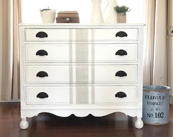 Farmhouse Furniture . White Painted Dresser . Grain Sack . Annie Sloan Chalk Paint . Shabby Chic . Fixer Upper