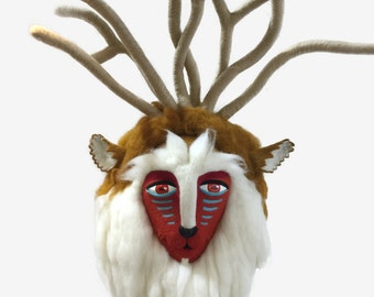 "Forest Spirit Head, Needle Felted. 30""H x 15""W"