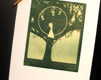 "Green ""Hiding Darkness"", Art print - Chalcography - intaglio etching, aquatint and photogravure"