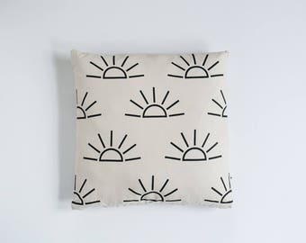 Sunrise Print Pillow - Tan & Black - 16x16