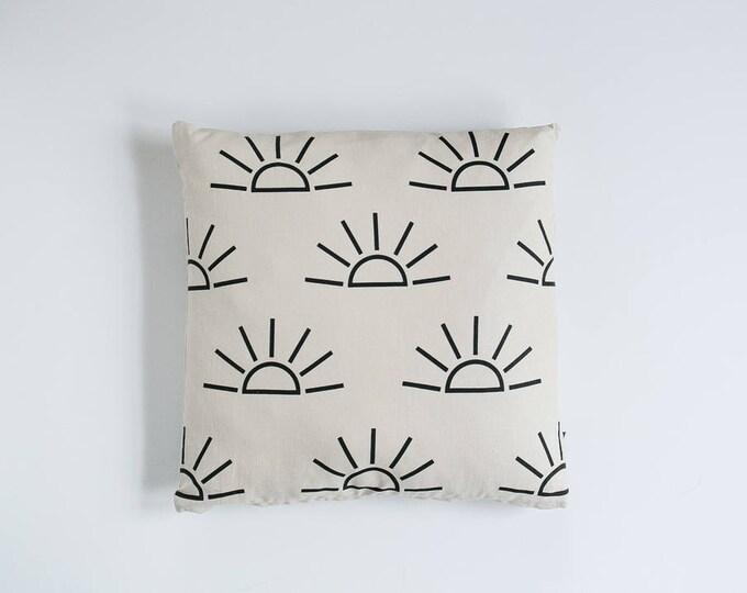 Sunrise Print Pillow - Tan & Black - 16x16