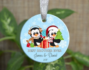 Personalized Christmas Ornament, Baby first Christmas ornament, Custom Ornament, Newborn baby gift, Best brother ever, Christmas gift. o056