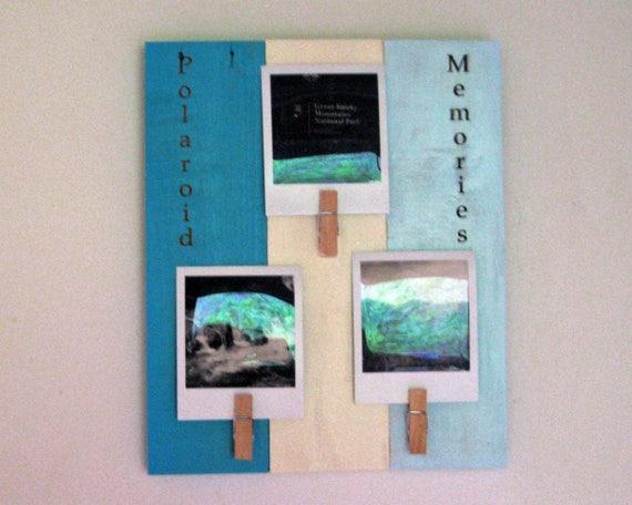 Pallet wood, upcycled photo frame, Polaroid pix, farmhouse decor ...