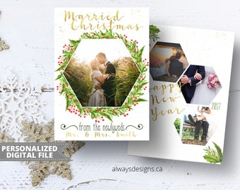 Married Christmas Card, Christmas Photo Card, Holiday Card, Gold Card, Printable Card, Greeting Card, 5x7 Card, Digital File, JPEG