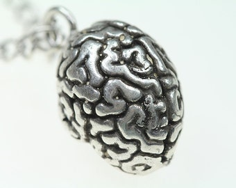 """Brain Necklace, (silver-plated metal,antique finish) 24"""" silver-plated chain, made in NYC"""