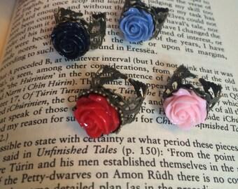 Rose Ring, Victorian Ring, Flower Ring, Brass Filigree, Romantic Lolita, Adjustable, Vintage Ring