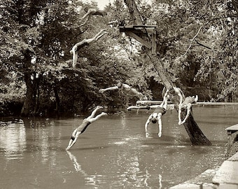 Swimming Hole Divers 1920s Photo