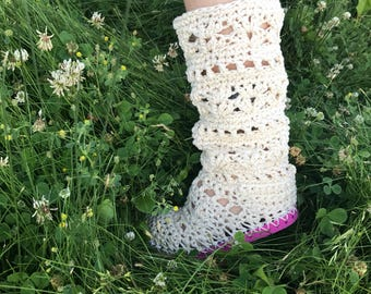 Ecru beige and pink hand crocheted festival boots 100% cotton summer