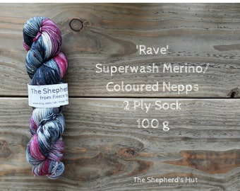 Superwash Merino/ Coloured Nepps 85/15   2 Ply Sock yarn 100 g 'Rave'
