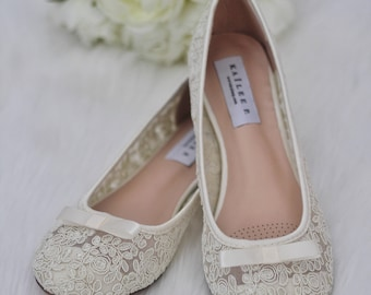 Women Wedding Shoes, Bridesmaid Shoes - IVORY LACE ballerina flats with bow
