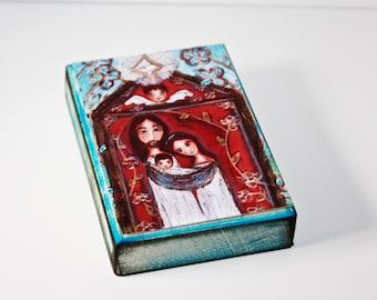 Nativity with Flowers - Giclee print mounted on Wood (5 x 7 inches) Folk Art  by FLOR LARIOS
