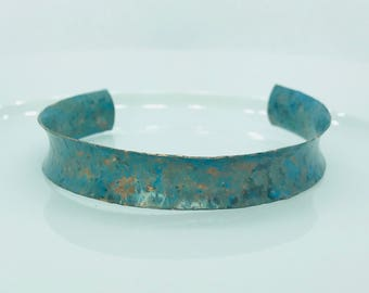Green Blue Patina Concave and Textured adjustable Copper Cuff Bracelet