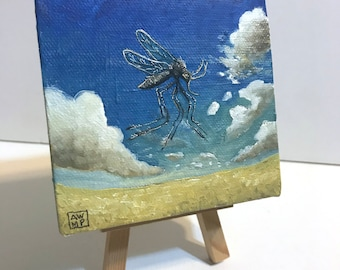 Flight of the Majestic Mosquito - miniature painting, small painting, mini painting, tiny painting, oil painting