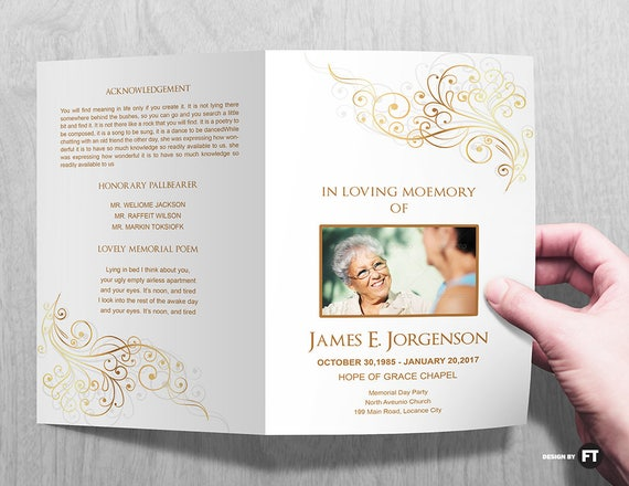 Funeral Program Template Printable Funeral Program