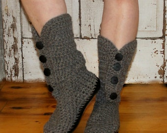 Crochet Boots Pattern-------GRAY BUTTON BOOTS----Street Shoes or Slippers--------Very Easy and works up quickly