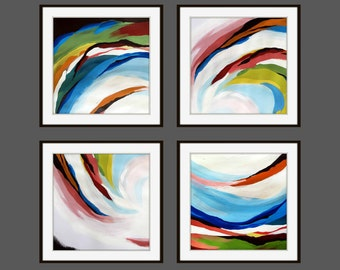 Printable Abstract Art, Instant Digital Download Art, Set of 4 Modern Wall Decor, Contemporary Art, Abstract Flower Painting, Square Art