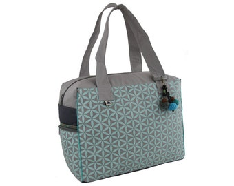 Flower of Life Retreat Bag - Grey/Marine