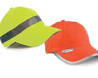 Baseball Style Cap Hi Visibility Reflective Hat Sports Active Wear Yellow or Orange