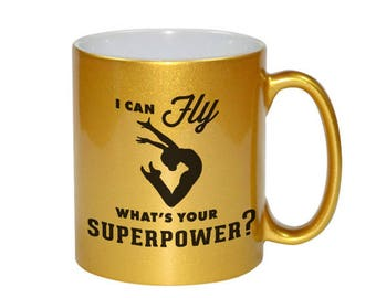 I Can FLY.  What's Your Superpower? Inspired Design Ceramic Coffee Mug 11oz! Choose White, Pink, Silver OR Gold!