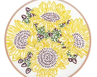 SUNFLOWER RIOT embroidery kit - hand embroidery kit, embroidery hoop art, floral embroidery, flowers, embroidery pattern by StudioMME