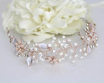 Rose Gold hair vine, Rose gold Wedding headpiece, Wedding hair accessory, Leaf head piece, Rose Gold headband, Vintage style hair, Bridal