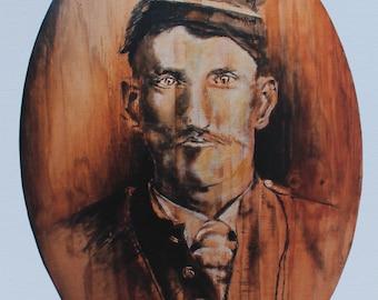 "Print of original painting- ""Grandpa Nicholls"" -in India Ink and Acrylic"