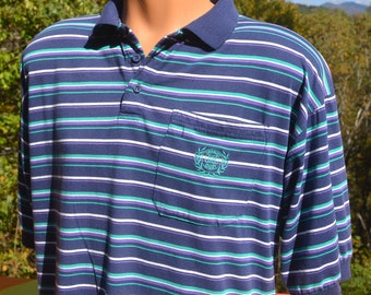 vintage 80s GIVENCHY polo golf shirt designer stripes collar preppy Medium Large 90s soft