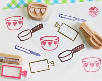 cooking rubber stamp | kitchen utensil stamp | frying pan mixing bowl cutting board knife | gift for her | diy | hand carved by talktothesun