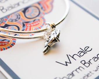 Intention Bangle Bracelet - Whale Bracelet - Inspirational Gift - Friendship Bracelet