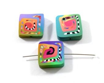 3 Small Square Handmade Polymer Clay Beads, Handmade Beads