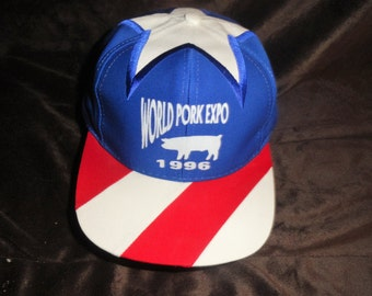 LOOK...1996 World Pork Expo snapback hat/cap/pig/farmer/hogs/bacon/ham/Iowa/corn/producers/ranch/midwest/red/white/blue/butcher/