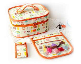 Sewing travel set Zipper cross stitch quilting sewing case Clear project bag Needle organizer Scissors case Sewing storage Craft gift
