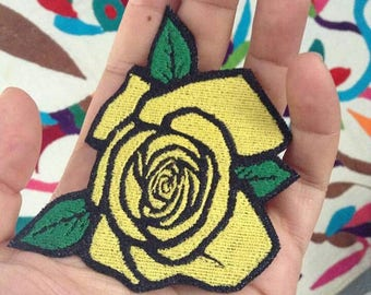 Yellow Rose Iron On Patch