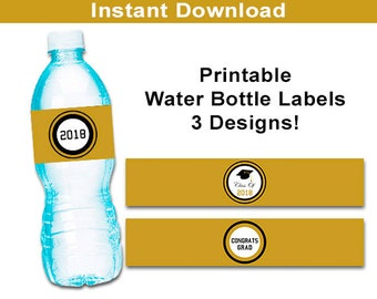 Class of 2018 Water Bottle Labels, Gold and Black Graduation Botltle Wrappers, Party Printables High School College Graduation Bottle Wrap