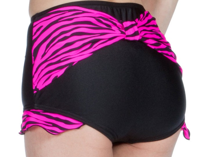 Shirley Bow Back with Ruffles Retro High Waisted Swim Bottom in Black with Neon Pink Zebra Stripes