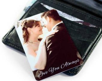 Personalised Metal Photo Keepsake Card For Wallet/ Purse - Double Sided