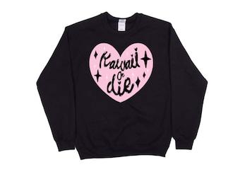 Kawaii or Die Thick jumper sweater, pastel goth, grunge, harajuku, anime, manga, japan